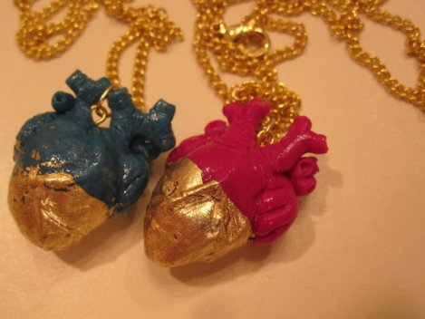 Colour dipped anatomical heart necklaces from Etsy user CBDahlia