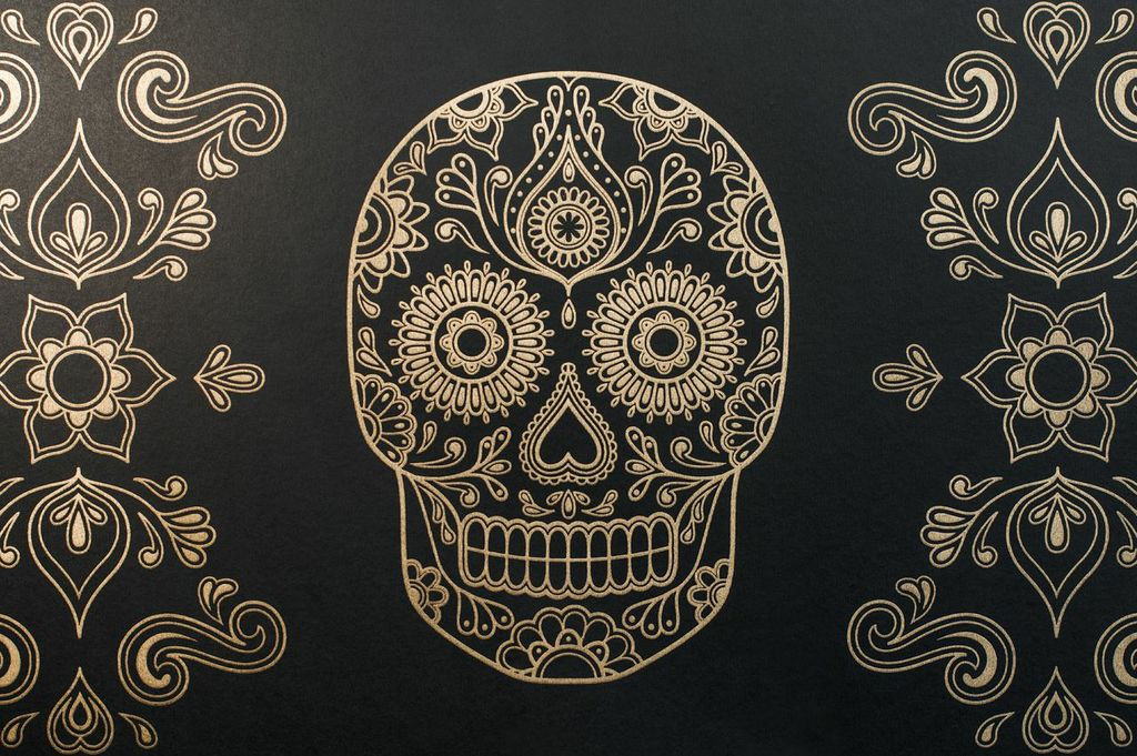 Macabre Wall Art – 'Day of the Dead' Skull Wallpaper – Eat ...